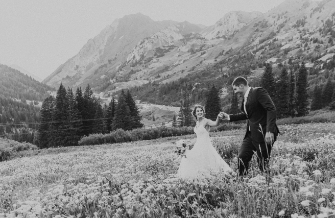 Bride and Groom Flower Field Mountains Utah Photographer B.Fotographic1