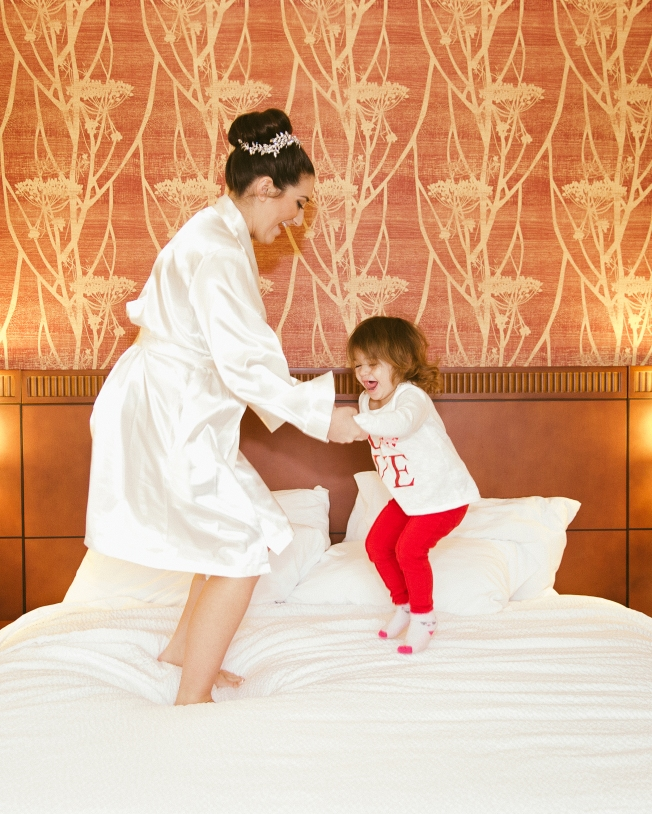 Mother Daughter Jumping on Bed B.Fotographic Best Wedding Photographer1